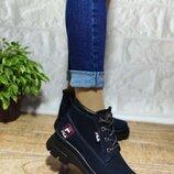 Темно-Синие демисезонные ботинки на шнурке нубук