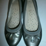 Туфли балетки серебро кожа clarks