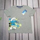 Серая футболка со Смурфом для мальчика