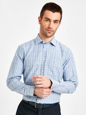 Продано: Белая мужская рубашка LC Waikiki / Лс Вайкики в голубую и коричневую клетку