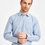 Белая мужская рубашка LC Waikiki / Лс Вайкики в голубую и коричневую клетку