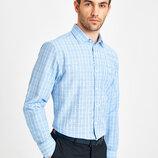 Белая мужская рубашка LC Waikiki / Лс Вайкики в голубую и зеленую клетку