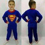 Пижама теплая с начесом на баечке Супергерой Супермен начес Хлопок 92-98-104-110-116-122-128-134-140