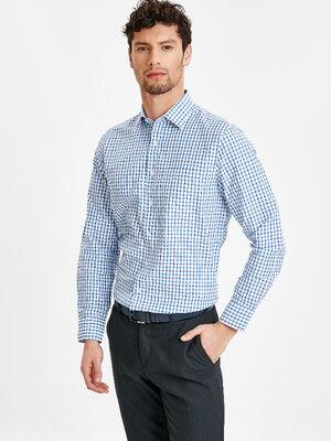 Белая мужская рубашка LC Waikiki / Лс Вайкики в синюю и голубую клетку