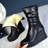 Кс66517З Зимние женские кожаные сапоги дутики черные