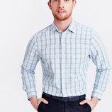 Белая мужская рубашка lc waikiki / лс вайкики в мятную и синюю клетку, с карманом на груди