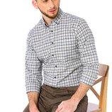 Белая мужская рубашка LC Waikiki / Лс Вайкики в сине-коричневую клетку, с карманом на груди