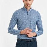 Мужская рубашка LC Waikiki / Лс Вайкики в сине-белую клетку, с карманом на груди