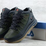 Премиум качество. Зима. Мужские кожаные зимние ботинки кроссовки Fila черно-зеленые 101 ч/з/р