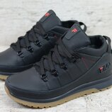 Премиум качество. Зима. Мужские кожаные зимние ботинки кроссовки Fila черный 101 чер/р