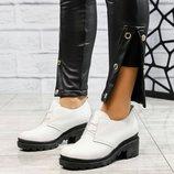 Код 4173 Белые туфли на толстой подошве. Натуральная кожа. Кожаная внутренняя часть Высота подошвы 6