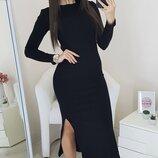 Женское платье макси трикотаж-рубчик