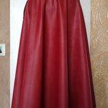 Красивая юбка миди из эко-кожи 2 цвета Бесплатная доставка