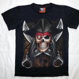 Черная футболка Череп Пират светится в темноте Rock EagleThailand