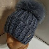 Стильная женская ангоровая шапка с натуральным мехом с помпоном с бубоном синяя джинс