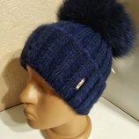 Стильная женская ангоровая шапка с натуральным мехом с помпоном с бубоном синяя