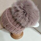 Стильная женская ангоровая шапка с натуральным мехом с помпоном с бубоном розовая
