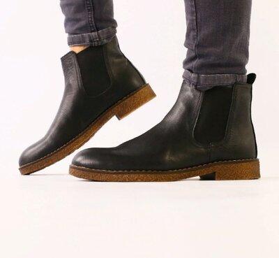 Ботинки мужские, натуральная кожа, деми, черные