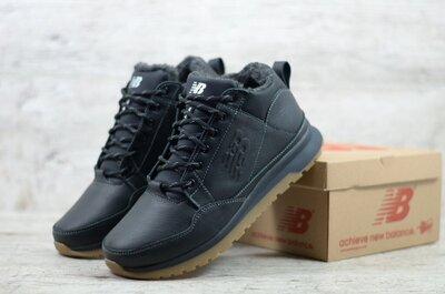 Мужские кожаные зимние кроссовки ботинки на меху new balacne . теплые и ноские