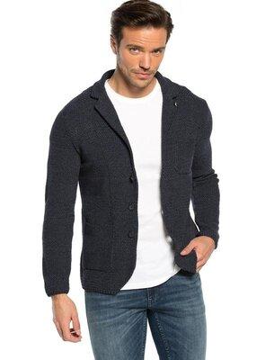 Синий мужской пиджак LC Waikiki / Лс Вайкики меланжевый, с накладными карманами, на 2 пуговицах