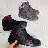 Ботинки мужские, натуральная кожа, зима, серые и черные