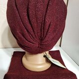 Качественный бордовый комплект зимняя шапка и шарф odyssey Украина