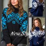 44-52, Теплий светр зі сніжинками, карман кенгурушка, Теплый свитер со снежинками, Жіночий светр
