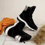 В наличии ботинки завышенные на молнии на волнистой подошве натуральная кожа и замша