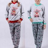Пижама тёплая с начесом на баечке подростковая с манжетами, начес, Хлопок 122-128-134-140-146-152