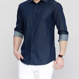Джинсовая мужская рубашка LC Waikiki / Лс Вайкики с синими пуговицами