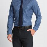 Синяя мужская рубашка LC Waikiki / Лс Вайкики в мелкую белую клетку