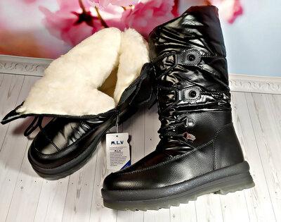 Зимние сапоги дутики р-р 32-37 черные