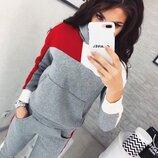 Зимний теплый спортивный костюм с начесом женский серый с красным с большим карманом