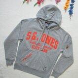 Крутая брендовая теплая толстовка худи кенгуруха с капюшоном серый меланж с надписью Smith&Jones.
