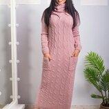 женское вязаное длинное платье р-р 48-54 ос 987