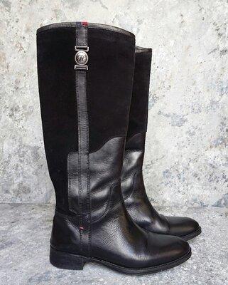 Сапоги женские демисезонные, кожаные сапоги Tommy Hilfiger