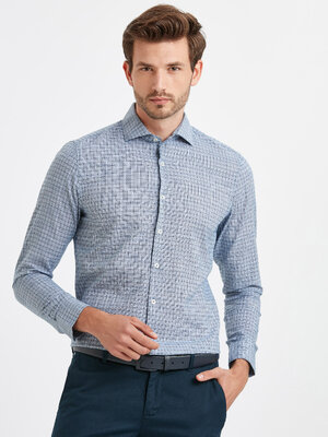 Мужская рубашка LC Waikiki / Лс Вайкики в синюю клетку, с белыми пуговицами