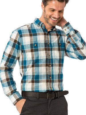 Мужская рубашка LC Waikiki 4XL в бирюзово-коричневую клетку, с карманами и пуговицами на воротнике