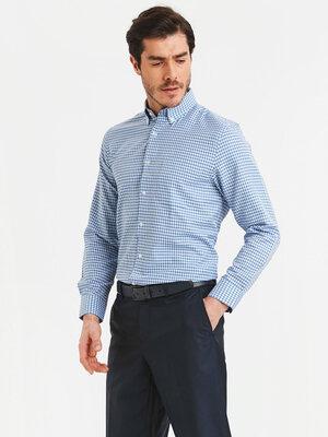 Белая мужская рубашка LC Waikiki / Лс Вайкики в сине-голубую клетку, с пуговицами на воротнике