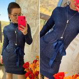 Платье ангора-люрекс с атласным поясом, код 0858