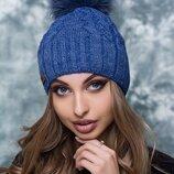 Женская шапка с меховым бубоном Цвет джинс