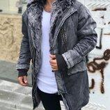 Топ качество. Зима. Стильная мужская куртка парка «Open» джинсовая серая мех o-107