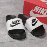 Шлепанцы Nike, белые, черные , 41,42,43,44,45 размер, пляжные, баня, бассейн, пляж, бренд