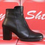 Кожаные женские черные осенние ботинки ботильоны на устойчивом каблуке деми натуральная кожа