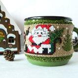 чехол на кружку новогодняя чашка уютная зима посуда декор чашка для глинтвейна термокружка олень