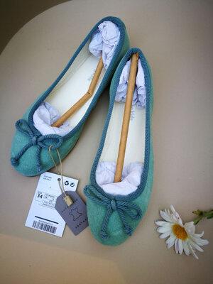 Продано: Кожаные мятные балетки Mango 34, 35