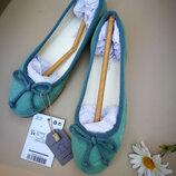 Кожаные мятные балетки Mango 34, 35