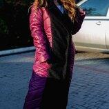 Пальто женское стеганное плащевка букле барашек синтепон 250 черный марсалового