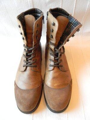 Мужские кожаные ботинки zign р.44----30,5см коричневые португалия