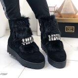 Зимние замшевые ботинки с мехом, натуральные зимние ботинки 36,38-40р код 11941